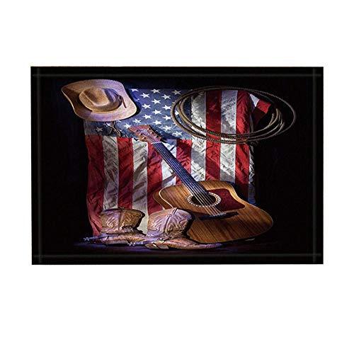 JoneAJ Western Badteppiche Cowboy-Roper-Stiefel mit Gitarre auf amerikanischer Flagge Rutschfeste Fußmattenbodeneingangs-Eingangsmatte für den Innenbereich Badmatte für Kinder 15,7x23,6 Zoll