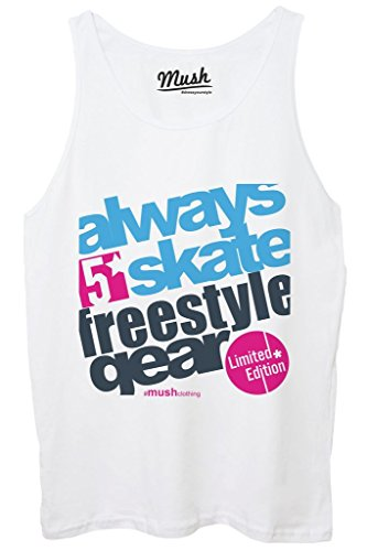 Canotta ALWAYS SKATE FREESTYLE - FAMOSI by MUSH Dress Your Style - Donna-XL-BIANCA - Freestyle Skate Shop