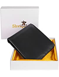 RFID Blocking Bifold Men's Wallet - Black Luxury Genuine Leather - Slim Wallet for Men - with ID Window and Gift Box