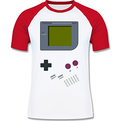 Shirtracer Nerds & Geeks - Gameboy - Herren Baseball Shirt Weiß/Rot