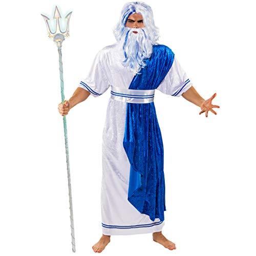 Amakando Außergewöhnliche Verkleidung für Männer Poseidon / Weiß-Blau in Größe 50/52 (M/L) / Herren-Kostüm Wassergeist / Einsetzbar zu Fasching & Mottoparty (Antike Griechische Kostüm Männer)