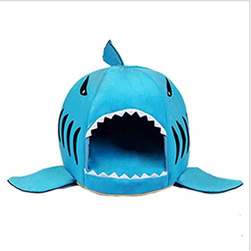 Hund Katze Puppy Pet Shark Höhle Bett Matte Nistkasten Rest Knit Baumwolle Weiches Warmes Herausnehmbares Kissen Matte Hund Puppy Cat House(Farbe grau, blau, pink),Blau,L -