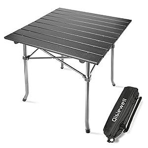 Qisiewell Aluminium Klapptisch Campingtisch Multifunktionstisch Camping Wandern Reisen Picknick Sonstige Indoor-Outdoor Aktivitäten (52 x 52 x 49 cm)