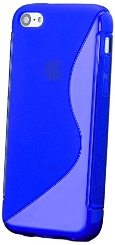 iCues Apple iPhone 5C |  S-Line TPU Case Rot | [Display Schutzfolie Inklusive] Transparent Klarsichthülle Durchsichtig Klare Klarsicht Silikon Gel Schutzhülle Hülle Cover Schutz Blau