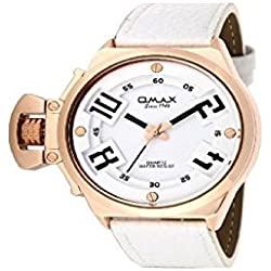 Omax Men's Quartz Watch White and Gold Analogue Metal Leather Wristwatch