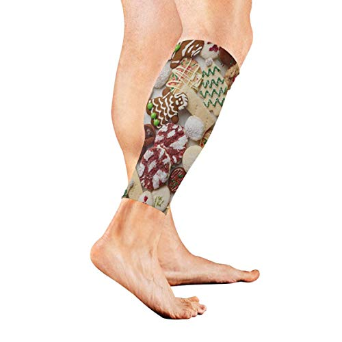tar Holiday Cookie Calf Sleeves 1 Pair For Running Cycling Travel ()