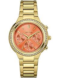 Caravelle New York 44L218 - Reloj de pulsera Mujer, Acero inoxidable, color Oro