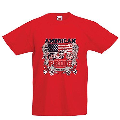 lepni.me Kinder Jungen/Mädchen T-Shirt Classic American Pride Moto, Retro Motorcycle, Vintage Motobike (12-13 Years Rot Mehrfarben)
