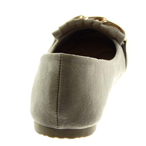 ... Angkorly Chaussures Mode Ballerine Slip-on Femme Fringe Chaîne Doro  Block Talon 1 Cm Gris e6a8707e999
