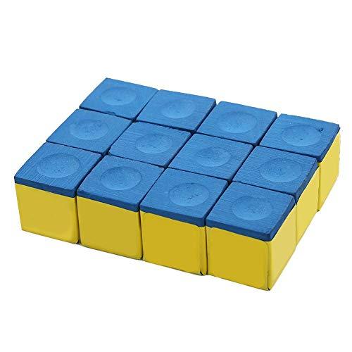 Ginyia Queue Tips Kreide, 1 Box 12 Stück Snooker Kreide rutschfeste Queue Tip Kreide Billard Pool Queue Kreide Für Snooker Pool Blue Green Pool Kreide(Blau)