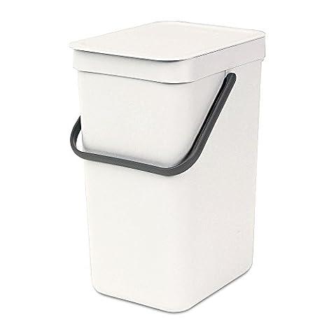 Brabantia Sort & Go Waste Bin, Plastic, White, 12 Litre