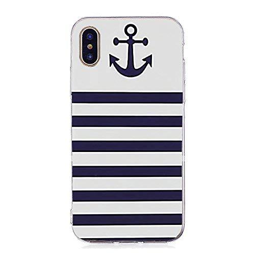 Inonler Gestreifter Anker und Matrosenanzug, tolles marineblaues TPU-Silikon Muster hülle für iphone X,Blua Hülle -