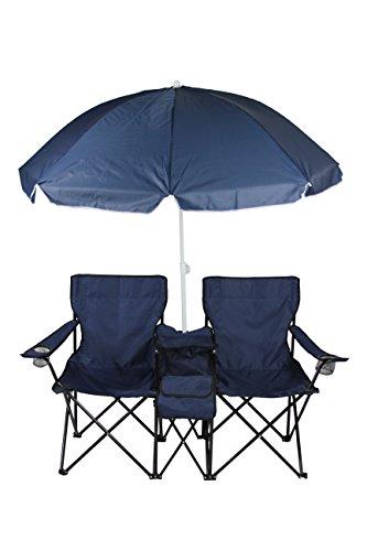 2er Partner Campingstuhl mit Sonnenschirm und Kühlfach in versch. Farben (Blau) (Camping-stuhl Sonnenschirm)