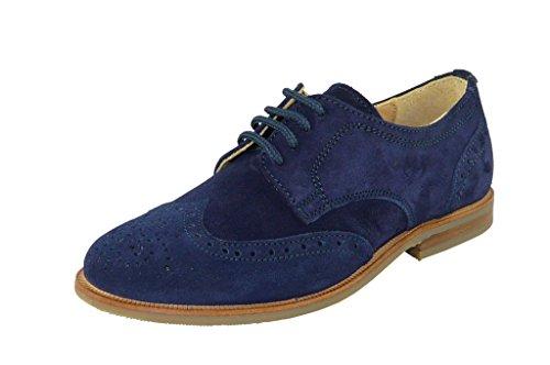 Zecchino d'Oro M01-6102 Unisex Kinder, elegante Halbschuhe mit Budapester Muster Blau(nachtblau)