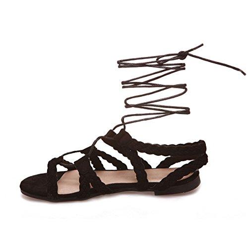 La Modeuse Sandales Plates Femme en Simili Daim Noir