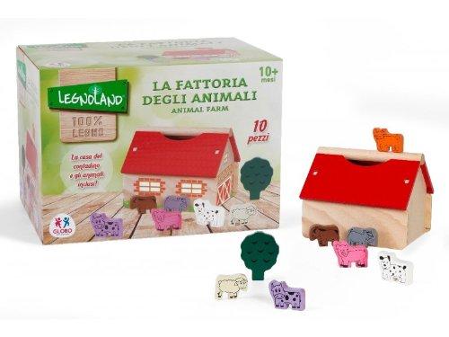Globo Globo-36587Legnoland Fattoria con Animali giocattolo di legno (10pezzi)