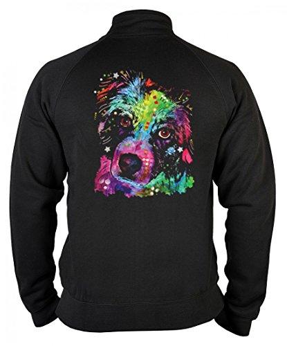 Aussie-hunde Reißverschluss (rohuf Design Neon Zip-Sweater - Bunter Hund - Toller Aussie Sheperd - bedruckter Pullover Reißverschluss Geschenk Motiv Sweatshirt, Größe:M)
