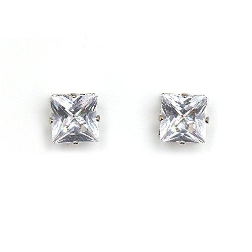 Juego de pendientes de para hombre Idin - o el hombro de acero inoxidable forma cuadrada de diamante Juego de pendientes de cierre magnético-a presión (aprox. 8 x 8 mm)
