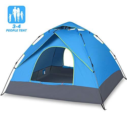 Elover Campingzelt Automatisches Wasserdichtes Zelt Anti UV Familienzelt Große Größe für 4 Personen Wurfzelt für Draussen Camping Wandern Reise Familie Strand (Blau)