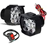 Auto Hub Shilon 9LED 16W Anti-Fog Spot Light Auxiliary Headlight with Switch for Vehicles,Two Wheeler,Bikes,Cars - Pack of Two