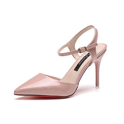 European fashion ladies pointu chaussures à talon/une boucle en cuir verni chaussures/latérales lumière sandales C