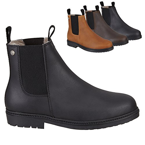 Chelsea Boot »NEW WORK WINTER« bequeme Stiefelette aus Rindsleder Made in Portugal | Echtfell| Reitschuh mit robuster Gummisohle | Schuh Schlupf Stiefel in Gr. 35-46 | Schwarz, Braun & Cognac