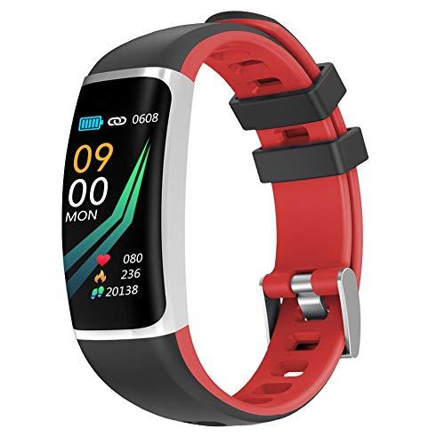 FGHKMJHB Smart Armband Fitness Tracker Herzfrequenz-Blutdruckmessgerät Anruferinnerung IP67 Wasserdicht Smart Band Gesundheitsuhren, Rot