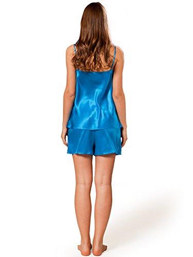 ELLESILK Damen Shorty Nachtwäsche aus 100% Seide, Pyjama kurz für Frauen, 22 Momme Marineblau