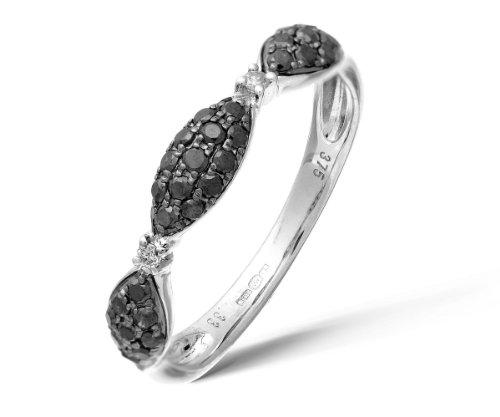 Ariel - DR1105W BLK DIA-L, Anello in oro bianco con diamante nero, 11  1/2