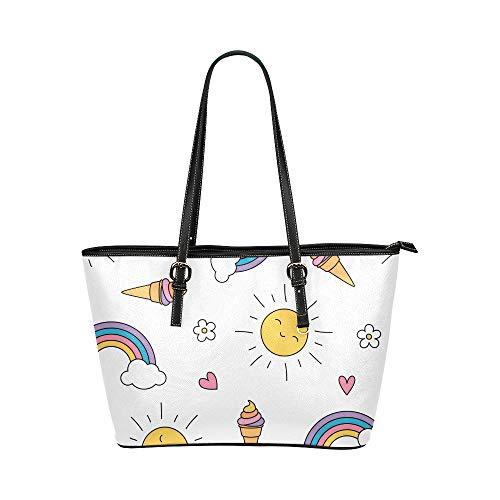 Plsdx Regenbogen Colocful Beauty Pattern Große Leder Tragbare Top Hand Totes Taschen Kausale Handtaschen Reißverschluss Schulter Einkaufstasche Geldbörse Organizer für Dame Girls Womens