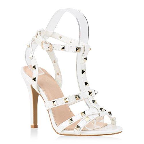 Damen Party Strass Sandaletten High Heels Stilettos Sommer Glitzer Schuhe Abiball Hochzeit Brautschuhe Weiss Glatt Steine