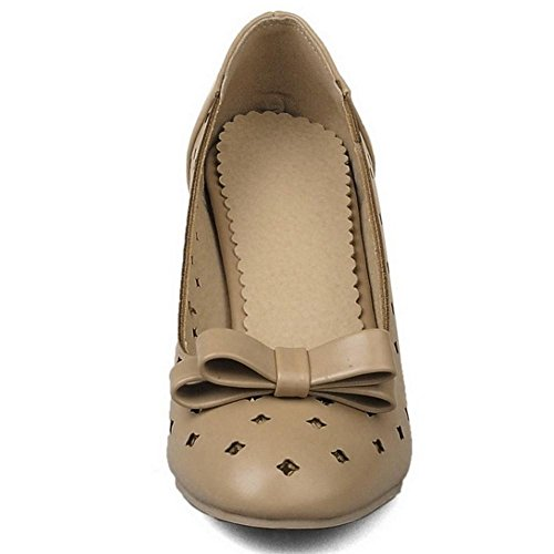 TAOFFEN Femmes Chaussures Classique Bloc Talons Moyen A Enfiler Escarpins De Bowknot Abricot