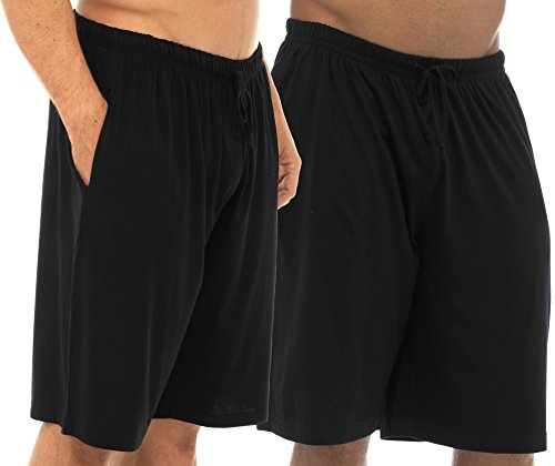 TOM Franks Twin Pack Baumwolle Jersey Lounge Shorts Gr. Large, Black Black (Pj Shorts Baumwolle)