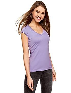 oodji Ultra Mujer Camiseta Básica con Mangas y Cuello no Elaborados