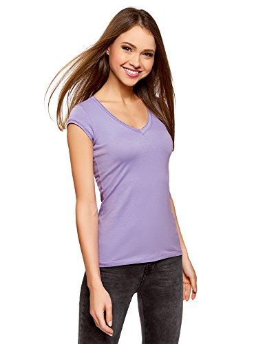 Oodji ultra donna t-shirt basic con maniche e scollo grezzo, viola, it 46 / eu 42 / l
