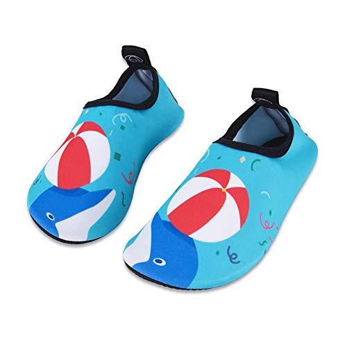 Kinder Badeschuhe Wasserschuhe Strandschuhe Mädchen Junge Schwimmschuhe Barfußschuhe rutschfeste Schnell Surfschuhe Sportschuhe Kleinkind Garten Schwimmbad(Farbige Bälle,18/19 EU)