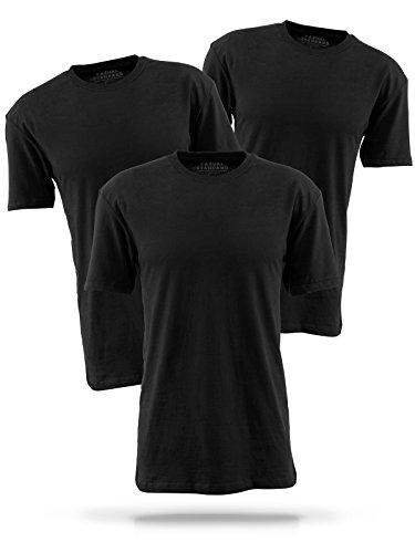 Casual Standard Shirt Herren 3er Pack Basic T Shirt Rundhals-Ausschnitt Kurzarm Regular-Fit 100% Baumwolle Schwarz XL (Standard Fit T-shirt)
