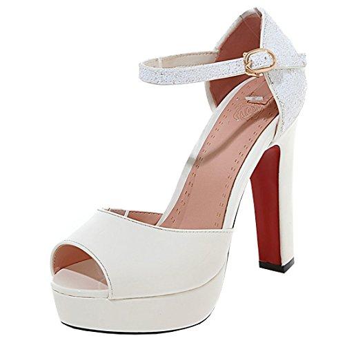 Artfaerie Damen Riemchen High Heels Sandalen mit Glitzer und Plateau Blockabsatz Peeptoes Pumps Moderne Lack Schuhe