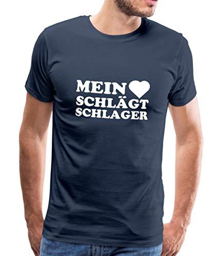 Spreadshirt Mein Herz Schlägt Schlager Schlagermusik Männer Premium T-Shirt, M, Navy