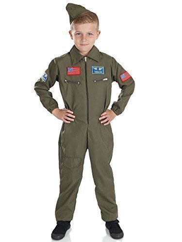 Jungen Luft Kadett Armee Militär Khaki Uniform Aviator Kostüm verkleiden Outfit - Grün, Grün, 4-6 Years