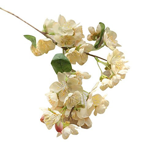 ★♣Irona Falso artificiale del partito fiori foglia Cherry Blossoms floreale Wedding Bouquet (beige)