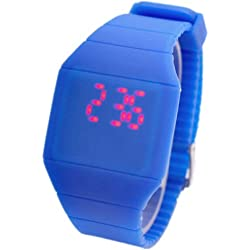 JS Direct Ultra-Thin Unisex Touch Screen LED Digital Silicone Sport Wrist Watch/ Boy Girl Led Quartz Watch/ Blue