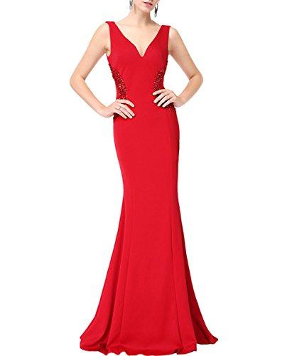 KAXIDY Abito Lungo Vestiti da Donna Eleganti Vestito Sera Vestiti da Cerimonia Rosso