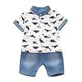 Tyoby Baby Jungen Streifen/Drucken Kurzärmliges Oberteil T-Shirt+ Mode Shorts Zweiteiliges Set(Weiß,80)