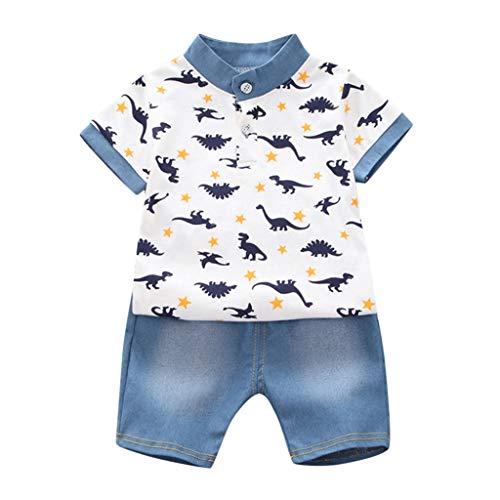 Schwarzen Schwanz Smoking (Sonnena Baby Jungen 2 Stücke Anzüge Kurzarm Dinosaurier Drucken Shirt Tops + Jeanshosen Formale Kinder Party Outfit Gentleman Kleidung Sets)