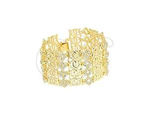 Bracelet souple large style manchette serti de strass