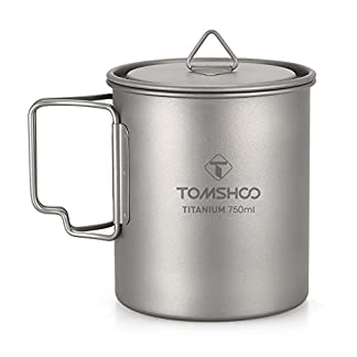TOMSHOO Lightweight Titanium 750ml Pot 450ml Water Cup Mug with Lid Collapsible Handle Folding Spork for Outdoor Camping Hiking Backpacking 1