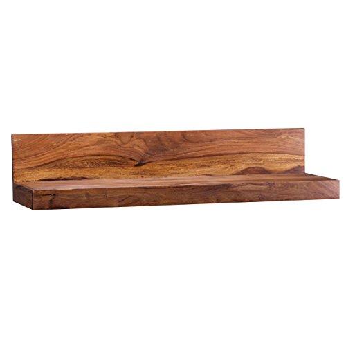 WOHNLING Wandregal Massiv-Holz Sheesham Holzregal 80 cm breit Landhaus-Stil Hönge-Regal Echt-Holz Wand-Board Natur-Produkt Wandkonsole dunkel-braun Brett unbehandelt Regale zum Aufhöngen Unikat Ablage