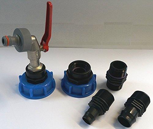 Lot de 2 ampoules t3 cms60133mk99_k290 robinet à boisseau sphérique avec connecteur gardena et d'un bec-adaptateur douilles (- conteneur iBC-adaptateur-fitting-cANISTER