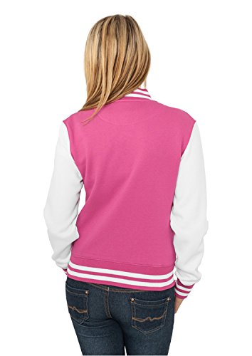 Urban Classics TB218 Damen Jacke Ladies 2-tone College Sweatjacket fuchsia-white